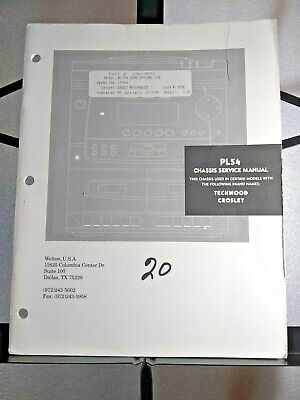 Welton USA Chassis Service Manual for Model PL54 Techwood Crosley