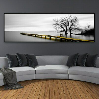Modern Landscape Bridge Scene Black and White Canvas Paintings Nordic Poster