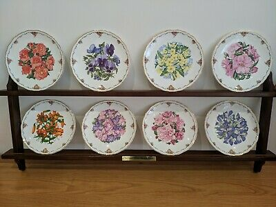 Royal Albert - Queen Mothers Favourite Flowers Full Set of 8 Plates + Wall Rack