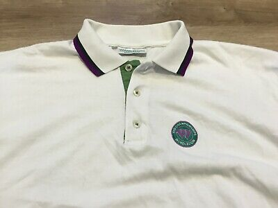 Wimbledon Tennis Championships Official Mens Polo Shirt LARGE vintage 1980s