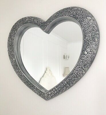 Large Heart Wall Mirror Ornate Antique Style Silver Frame French Rose 67x58cm