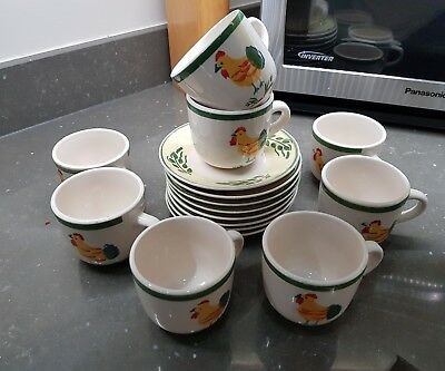 Scotts of Stow set of 8 Chicken Pattern Cups & Saucers. Excellent.
