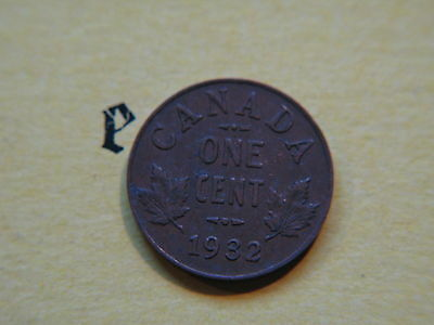 1932 Canada Canadian Small 1c (One) Cent Coin,  Penny