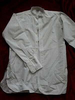 1930s 40s Style White Collarless Shirt With Authentic Bib Detail Peaky Blinders