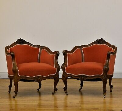 Pair Of Antique  French Walnut Upholstered Louis Xv Style Bergere Armchairs