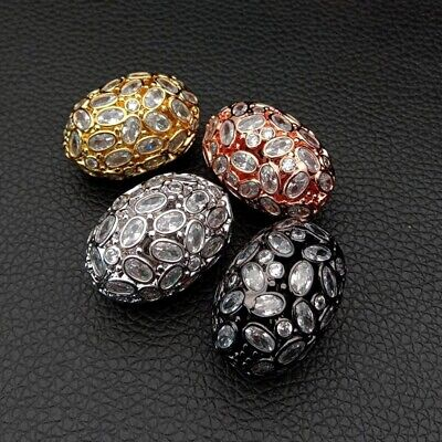1pc 20x27mm gold plated Cz micro pave hollow Egg loose beads for jewelry making