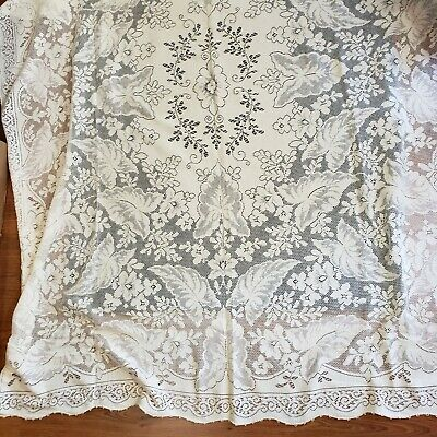 """Vintage Lace Tablecloth Scalloped Ivory 62"""" x 80"""" Elephant Ear Leaf & Floral"""