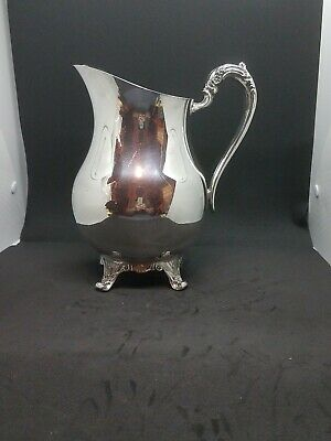F B Rogers Plain Scroll Handle & Feet Large Water Pitcher Silver Plate