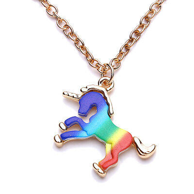 Magical Unicorn Charm Pendant Mythical Flying Horse Necklace Chain Jewelry JI