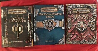 3 Dungeons Dragons Players Handbook Master Monster Manual Core Wizards Rulebook