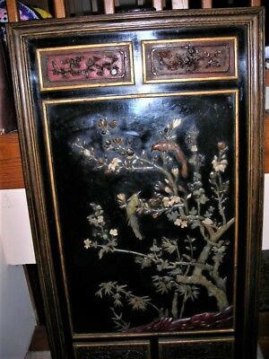 Final Sale! Huge Antique Chinese Jade Hardstone Carved Wood Panel Carving 30X53