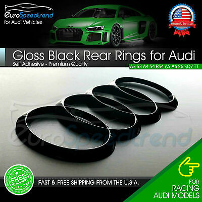AUDI Rings Gloss Black Rear Trunk Lid Badge Logo Emblem for A1 A3 A4 S4 A5 S6 A6