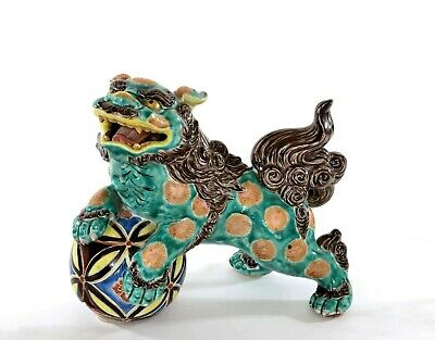 Old Japanese Kutani Porcelain Green Glaze Fu Foo Dog Lion Shishi