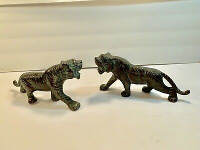 Chinese Vintage Male-Bengal-Tigers Handpainted Cast-Metal Sculpture/Figurines