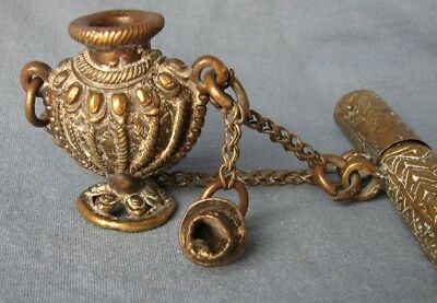Antique Nepalese brass inkwell and attached pen holder / case. 18th/19th century