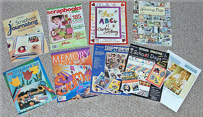 SCRAPBOOKING Scrapbook Craft BOOKS, Assorted Lot of 9 ..Ideas, Lettering & more