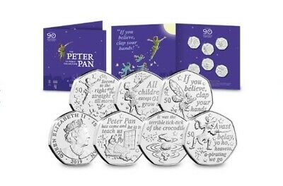 2019 Isle Of Man Bunc Peter Pan 50P Coin Set * * * * *