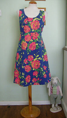 Lands End Vintage 50'S/60'S Style Floral Shift Dress Sz 14/16 Rockabilly/Mod
