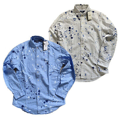 NWT Mens Polo Ralph Lauren classic fit paint splatter oxford shirt Button Down