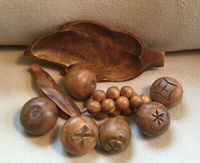 Vintage Mid Century 9 Piece Teak Wood Fruit & Bowl
