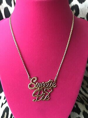 Betsey Johnson Vintage Sweetie Pie Gold Cursive Name Plate Necklace VERY RARE