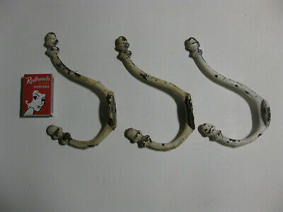Vintage Cast Iron COAT HOOKS x 3 Wardrobe Rack Hallway Hallstand Antique painted