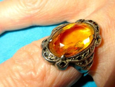Genuine Citrine & Marcasite Antique Art Deco Sterling Silver Cocktail Ring 1920s