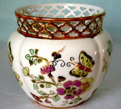 Zsolnay Cachepot Vase Porcelain Hand Painted Reticulated Hungary