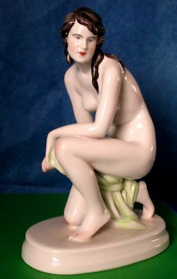 Zsolnay Nude Figurine Dark Hair Porcelain Hand Painted Hungary 1940-50s