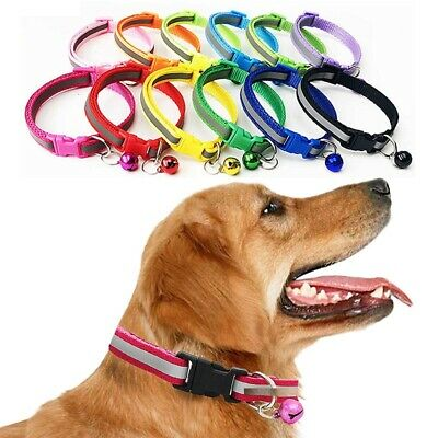 1Pc Reflective Pet Cat Dog Collar Adjustable Puppy Kitten Nylon Collar With Bell
