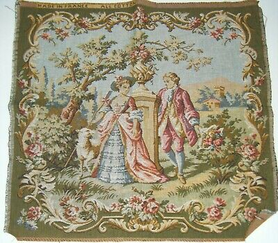 """Beautiful Antique Woven French Victorian Tapestry 20x19"""" Lord & Lady Floral"""
