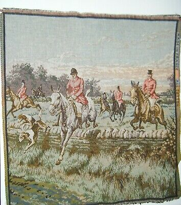 """Antique Woven French Victorian Tapestry 20x19"""" Equestrian Horses Hunting Dogs"""