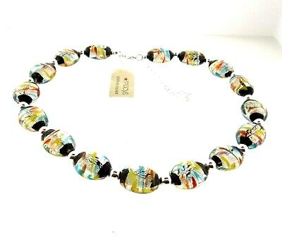 Sterling Silver Foil Art Glass Bead Necklace Choker NWT