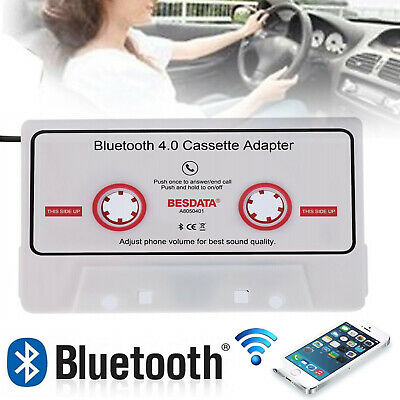 Car Cassette Tape Adapter Converter Bluetooth for Phone iPod MP3 Player White