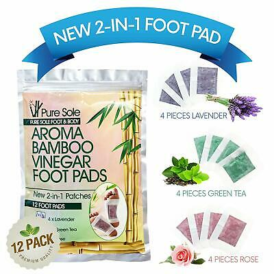 Pure Sole 2-in-1 Aroma Bamboo Vinegar Foot Pads Relieve Stress & Pain 12 ct