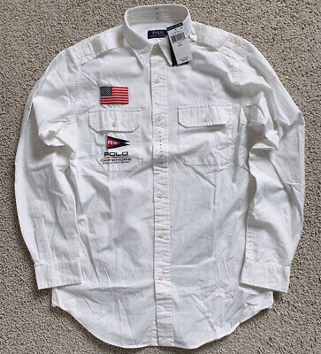 Polo Ralph Lauren P-15 Mens Military OXFORD Button Down Shirt American flag NWT