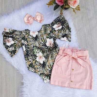 Toddler Baby Girl Summer Clothes Flower Romper Tops+Skirt Dress Outfit Sunsuit