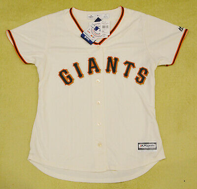 Women's San Francisco Giants MLB Majestic Cool Base beige jersey size LARGE