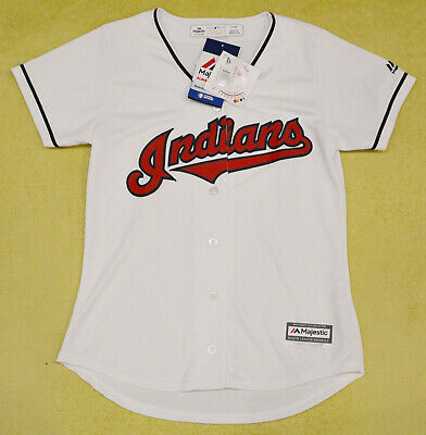 Women's Cleveland Indians MLB Majestic Cool Base white jersey size SMALL