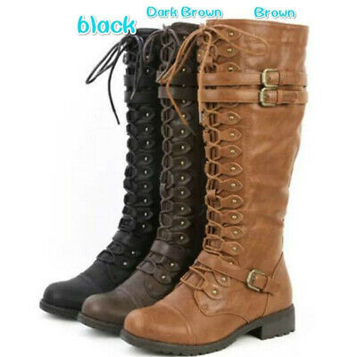 AU Women Knee High Boots Leather Lace Up Buckle Riding Military Shoes Low Heel