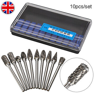 10Pc Head Tungsten Carbide Rotary Burr Die Grinder Bits 3*6mm Shank Carving Set