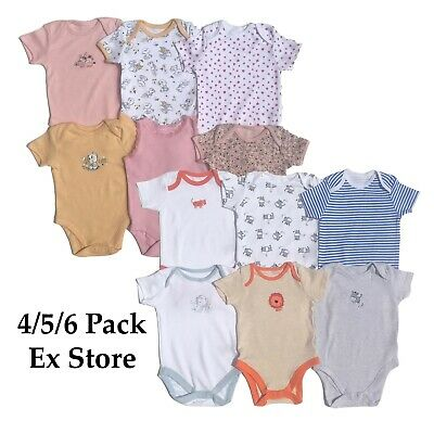 Baby Girls Boys Bodysuits Ex Store 4/5/6 Baby Grows 100% Cotton