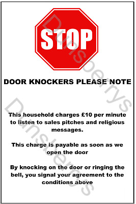 NO COLD CALLERS SIGN 8.5cmx4cm House Warning Sign No Cold Callers Vinyl Sticker