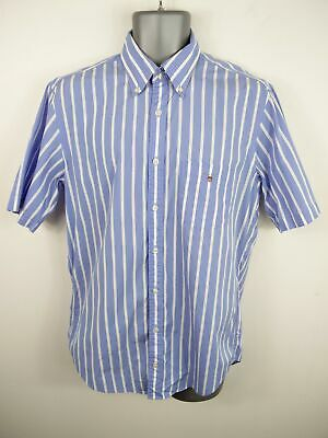 Mens Gant Blue/White Striped Button Up Short Sleeved Summer Shirt Size M Medium