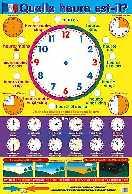quelle heure est-il ? A2   / Telling The Time Poster - French Language