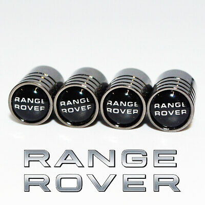 Range Rover Black Deluxe Wheel Valve Dust Caps. Evoque Vogue Autobiography Velar
