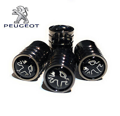 Peugeot Deluxe Black Wheel Valve Dust Caps. 208 308 408 508 RCZ