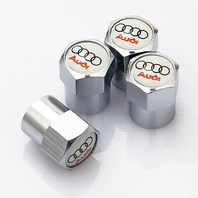 Chrome Audi Wheel Valve Dust Caps. RS4 Quattro RS6 Avant A4 A6 Q7 Q3 (white top)