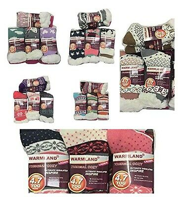 3 Pairs Of Ladies Thermal Hot Warm Thick Socks 4.7 Tog Sherpa Fleece Lining 4-7