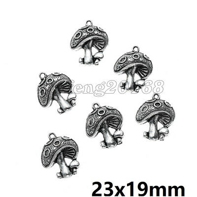 40pcs Tibetan Silver Metal Pendant Charm Jewelry Findings Mushroom 23x19x5mm HC